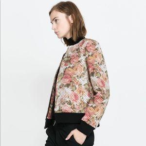 Zara floral polka dot bomber jacket